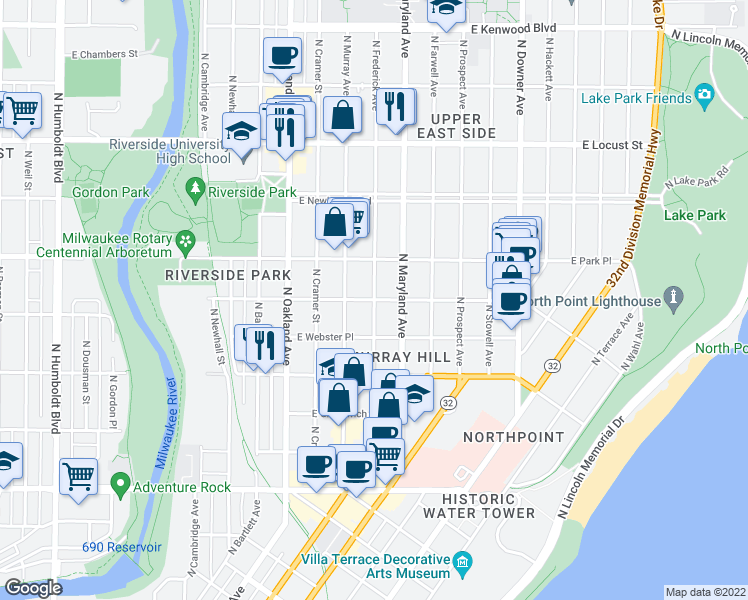 map of restaurants, bars, coffee shops, grocery stores, and more near 2610-2612 North Murray Avenue in Milwaukee