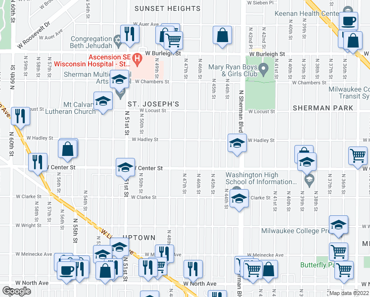 map of restaurants, bars, coffee shops, grocery stores, and more near 2760 N 47th St in Milwaukee
