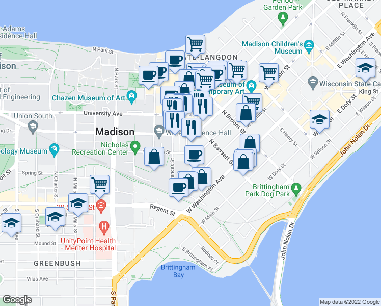 map of restaurants, bars, coffee shops, grocery stores, and more near 512-516 West Dayton Street in Madison
