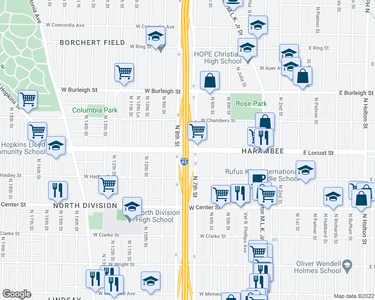map of restaurants, bars, coffee shops, grocery stores, and more near 503 North-South Fwy in Milwaukee