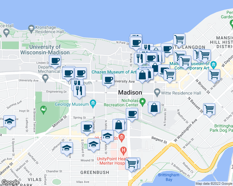 map of restaurants, bars, coffee shops, grocery stores, and more near West Johnson Street in Madison