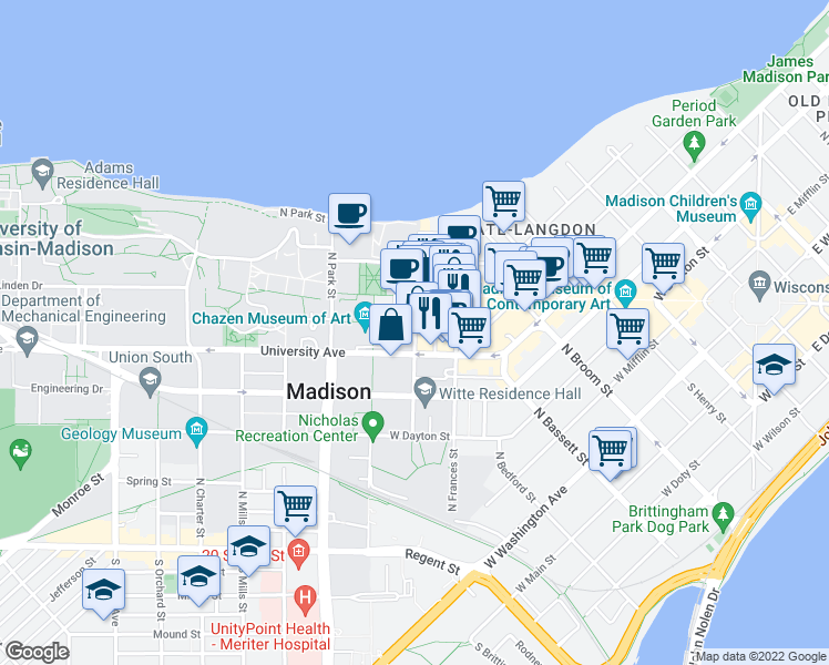 map of restaurants, bars, coffee shops, grocery stores, and more near North Lake Street in