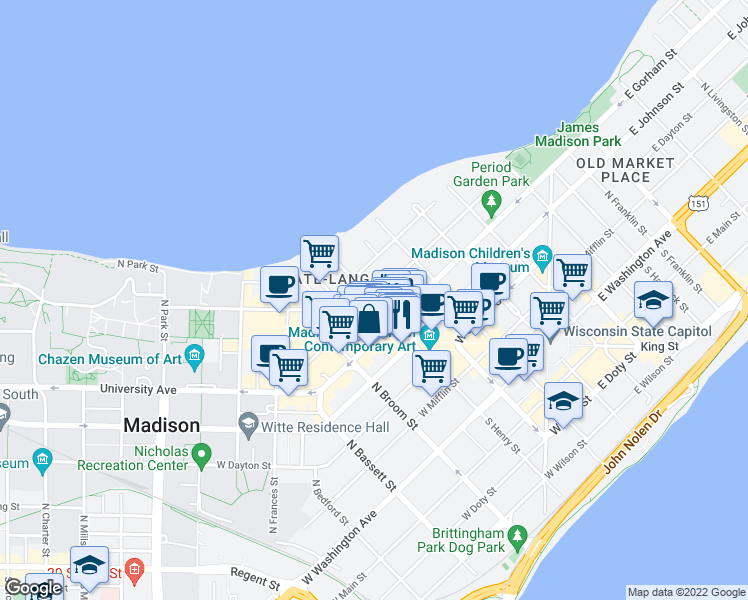 map of restaurants, bars, coffee shops, grocery stores, and more near West Gilman Street & North Henry Street in Madison
