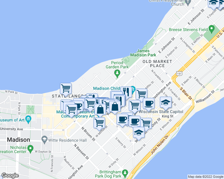 map of restaurants, bars, coffee shops, grocery stores, and more near 321 Wisconsin Ave in Madison