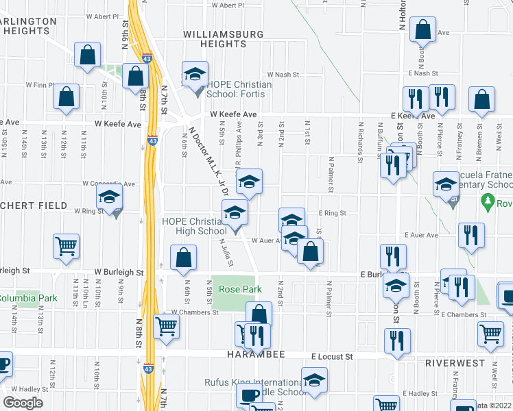 map of restaurants, bars, coffee shops, grocery stores, and more near 3275 N Dr Martin L King Dr in Milwaukee