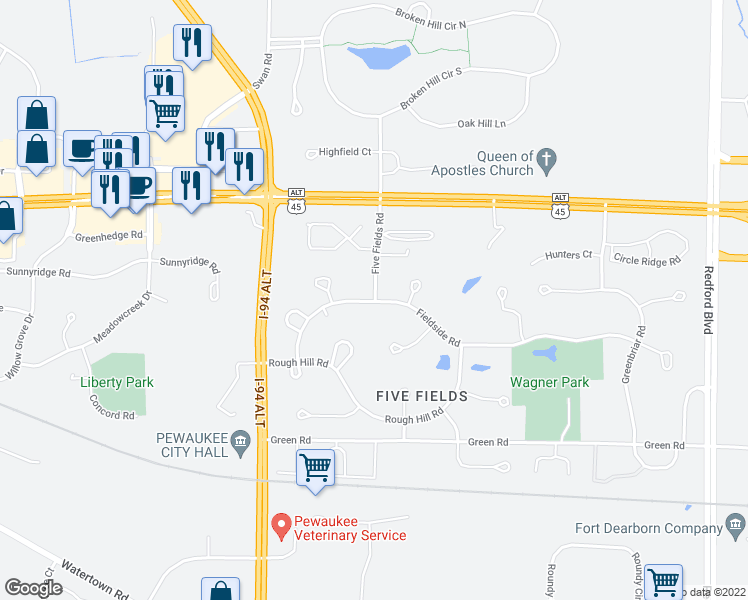 map of restaurants, bars, coffee shops, grocery stores, and more near W238 N3323 Fieldside Road in Pewaukee