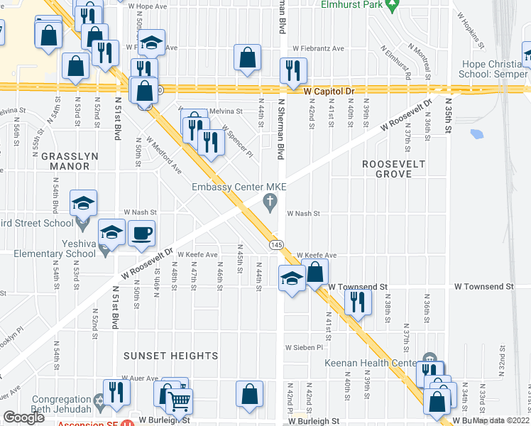 map of restaurants, bars, coffee shops, grocery stores, and more near 3737 North Sherman Boulevard in Milwaukee