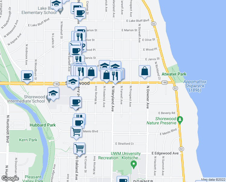 map of restaurants, bars, coffee shops, grocery stores, and more near 3953 North Maryland Avenue in Milwaukee