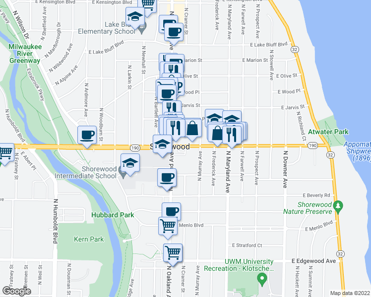 map of restaurants, bars, coffee shops, grocery stores, and more near 3975 North Cramer Street in Shorewood