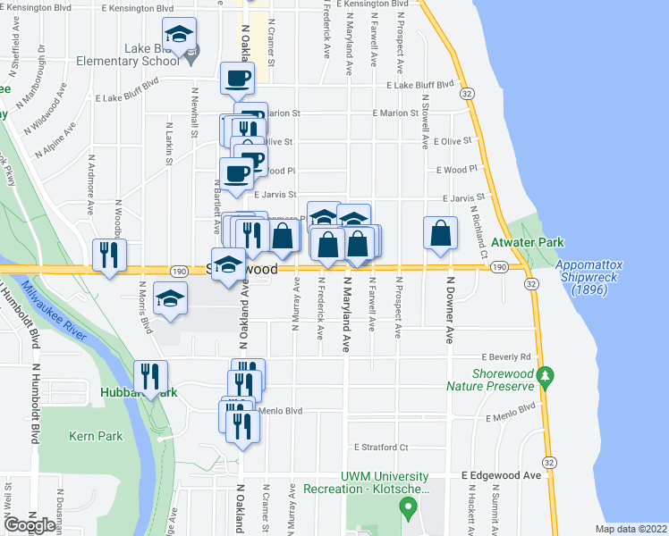 map of restaurants, bars, coffee shops, grocery stores, and more near 2121 E Capitol Dr in Milwaukee
