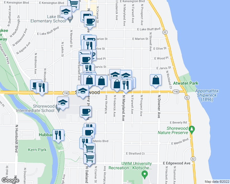 map of restaurants, bars, coffee shops, grocery stores, and more near 2101 East Capitol Drive in Shorewood
