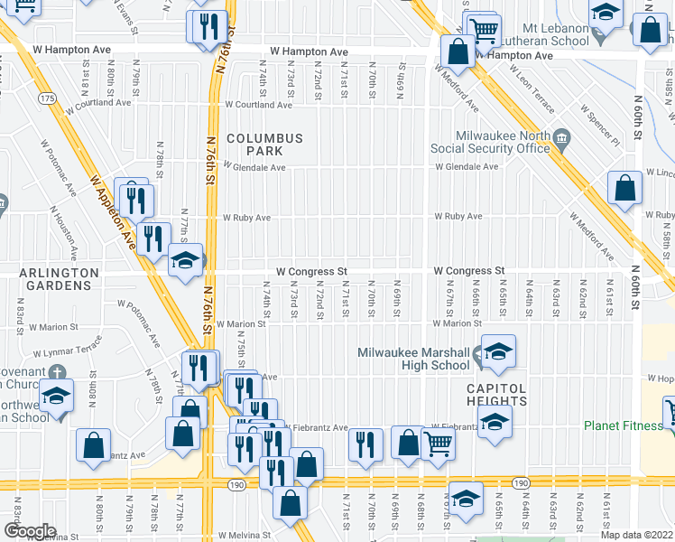 map of restaurants, bars, coffee shops, grocery stores, and more near 4430 North 71st Street in Milwaukee