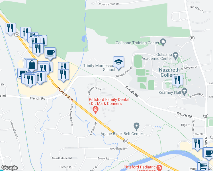 map of restaurants, bars, coffee shops, grocery stores, and more near 27 Colonial Parkway in Pittsford