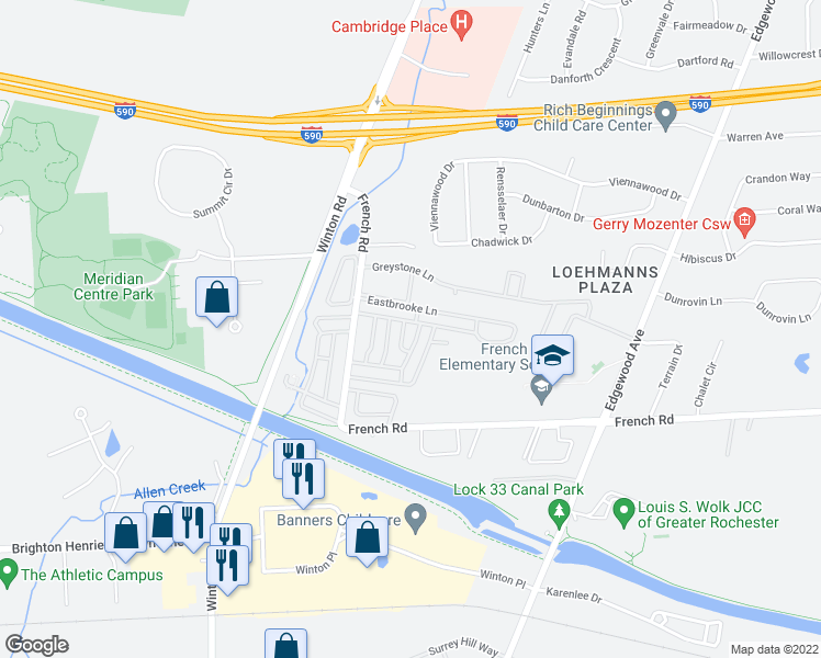 map of restaurants, bars, coffee shops, grocery stores, and more near 744 Eastbrooke Lane in Rochester