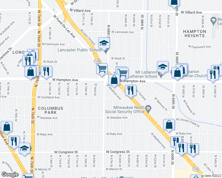 map of restaurants, bars, coffee shops, grocery stores, and more near 6735 West Medford Avenue in Milwaukee