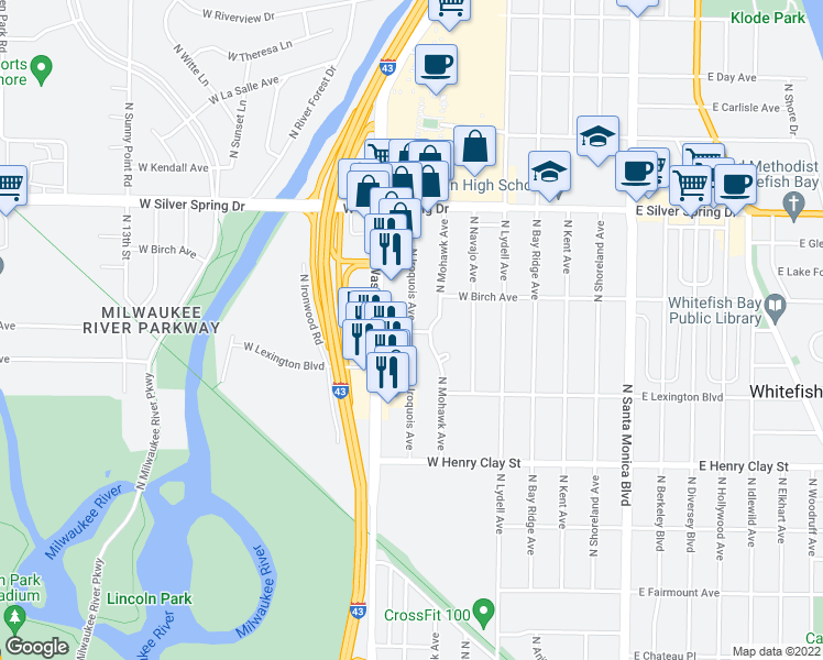 map of restaurants, bars, coffee shops, grocery stores, and more near 5400 N Iroquois Ave in Glendale
