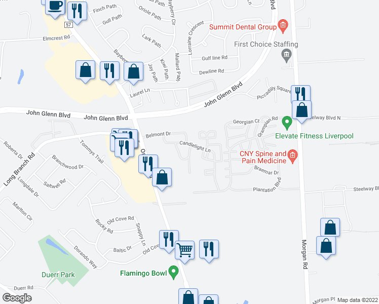 map of restaurants, bars, coffee shops, grocery stores, and more near 4341 Belmont Drive in Liverpool