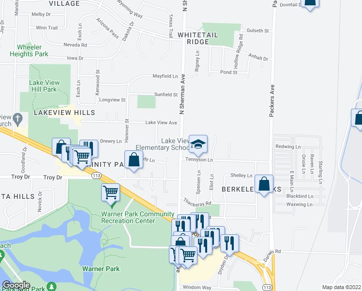 map of restaurants, bars, coffee shops, grocery stores, and more near North Sherman Avenue in Madison