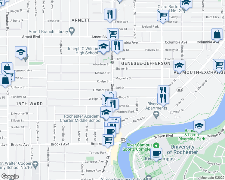 map of restaurants, bars, coffee shops, grocery stores, and more near Genesee St in Rochester