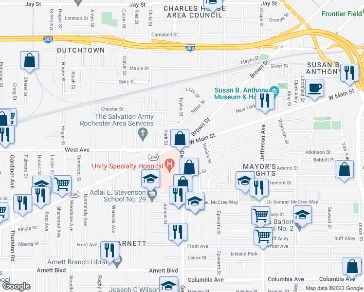 map of restaurants, bars, coffee sho