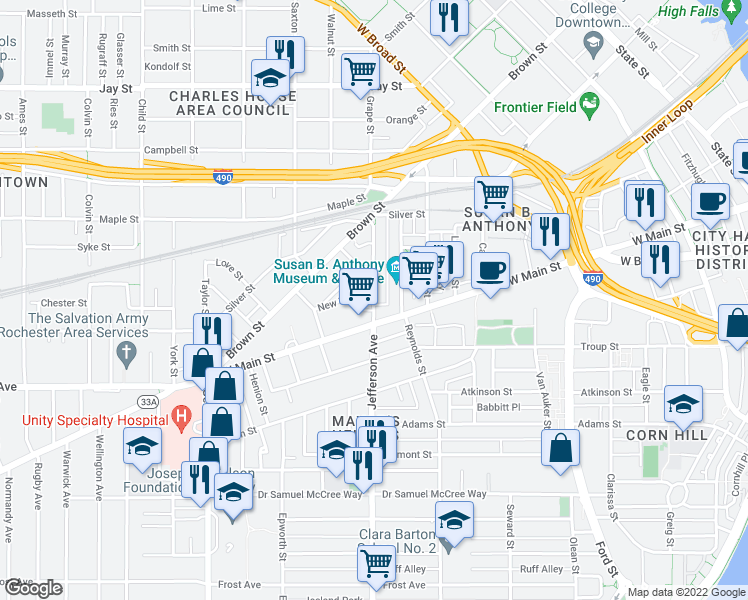 map of restaurants, bars, coffee shops, grocery stores, and more near 626 W Main St in Rochester