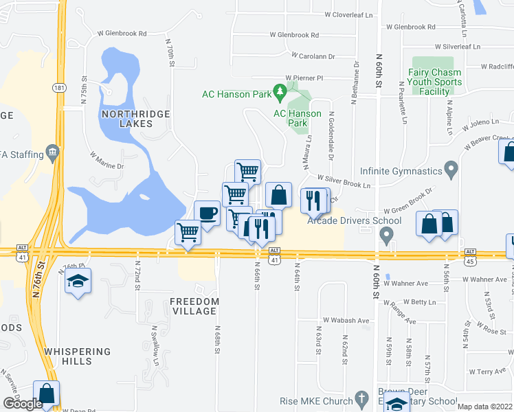 map of restaurants, bars, coffee shops, grocery stores, and more near 8900 North Park Plaza Court in Brown Deer