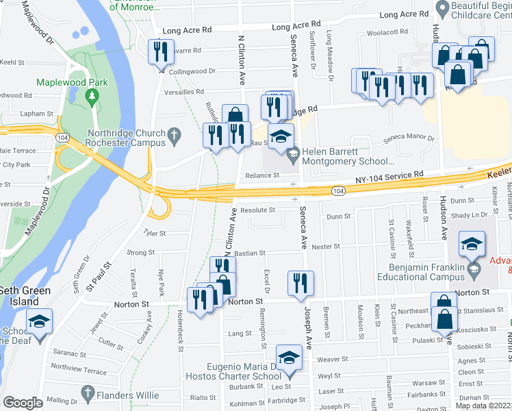 map of restaurants, bars, coffee shops, grocery stores, and more near 48 Resolute Street in Rochester