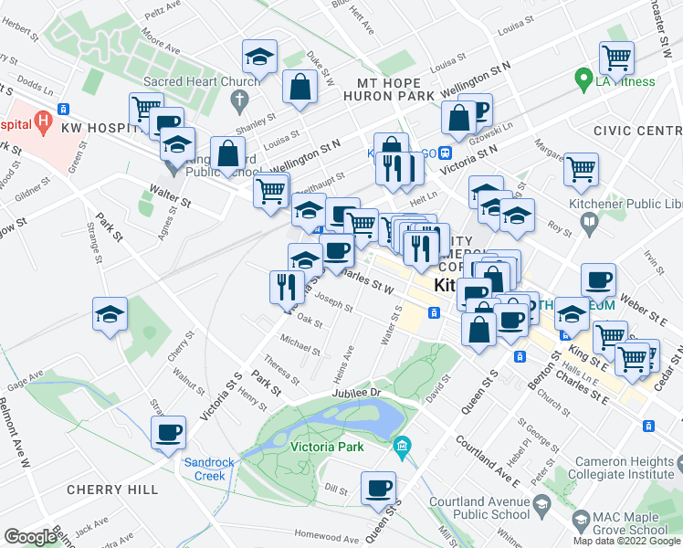 map of restaurants, bars, coffee shops, grocery stores, and more near 151 Charles Street West in Kitchener