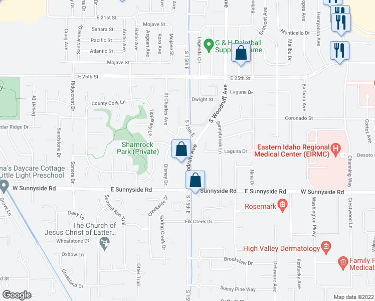 map of restaurants, bars, coffee shops, grocery stores, and more near 2775 S 15th E in Idaho Falls