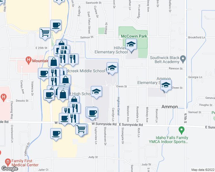 map of restaurants, bars, coffee shops, grocery stores, and more near 2800 Owen Street