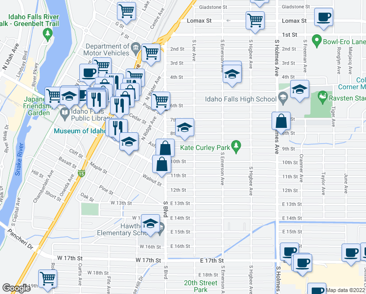map of restaurants, bars, coffee shops, grocery stores, and more near 158 9th St in Idaho Falls