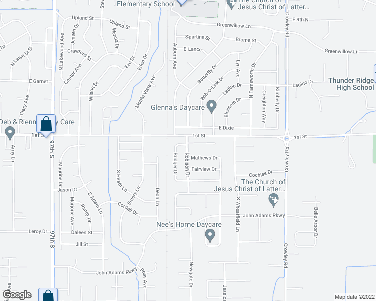 map of restaurants, bars, coffee shops, grocery stores, and more near 195 Robison Drive in Ammon