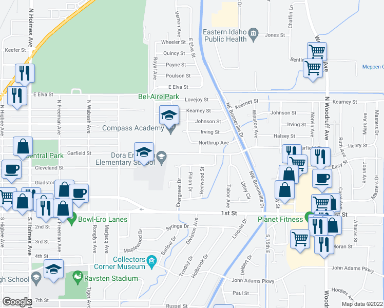 map of restaurants, bars, coffee shops, grocery stores, and more near 975 Hemlock St in Idaho Falls