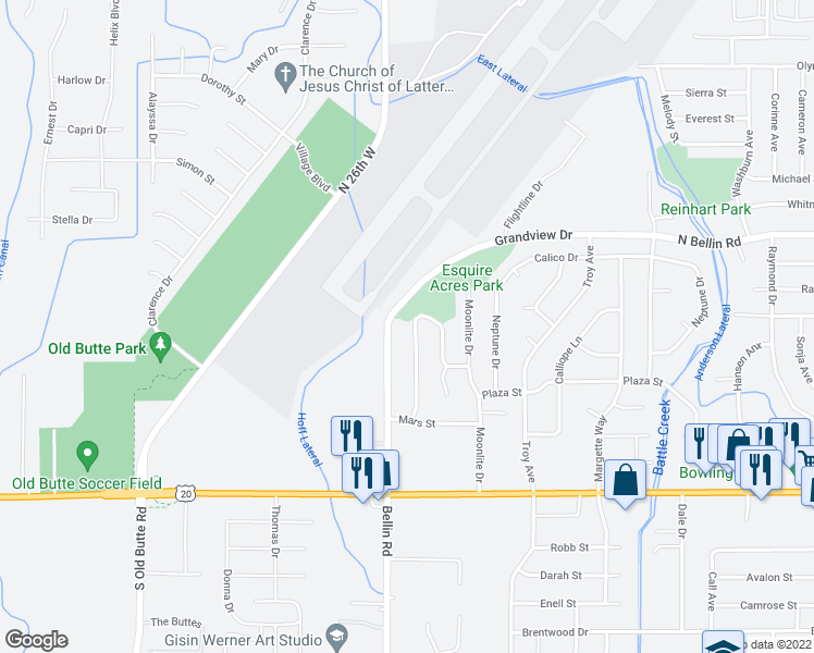 map of restaurants, bars, coffee shops, grocery stores, and more near 631 Starlite Avenue in Idaho Falls