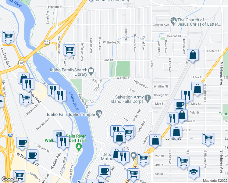 map of restaurants, bars, coffee shops, grocery stores, and more near 1406 Willow Avenue in Idaho Falls