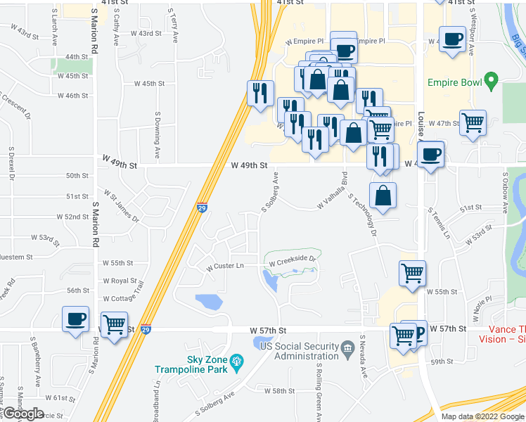 map of restaurants, bars, coffee shops, grocery stores, and more near 4401-4405 South Solberg Avenue in Sioux Falls