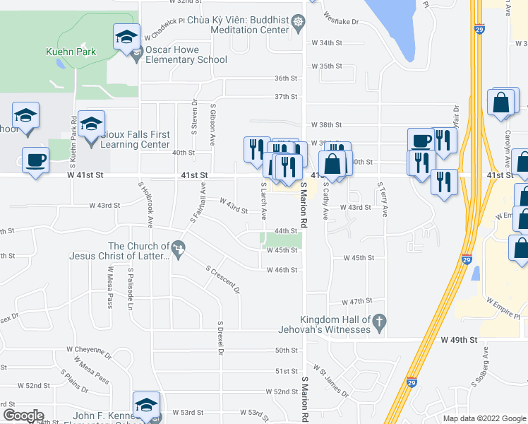 map of restaurants, bars, coffee shops, grocery stores, and more near in Sioux Falls