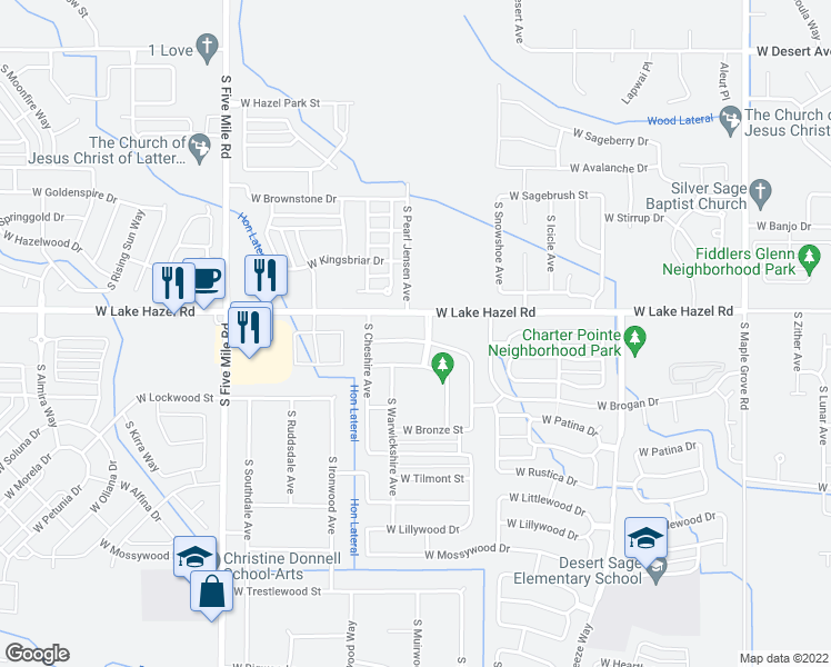 map of restaurants, bars, coffee shops, grocery stores, and more near 9426-9574 Lake Hazel Road in Boise