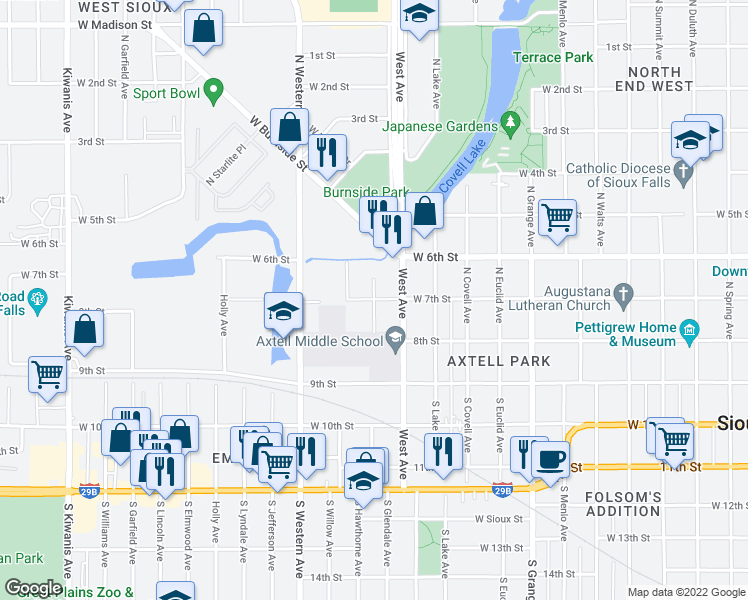 map of restaurants, bars, coffee shops, grocery stores, and more near W 7th St & N Hawthorne Ave in Sioux Falls