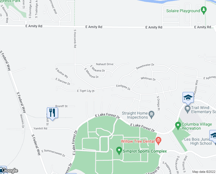 map of restaurants, bars, coffee shops, grocery stores, and more near 5327 S Wagonmaster Pl in Boise