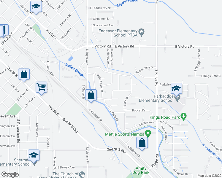 map of restaurants, bars, coffee shops, grocery stores, and more near 2520 Muskrat Avenue in Nampa