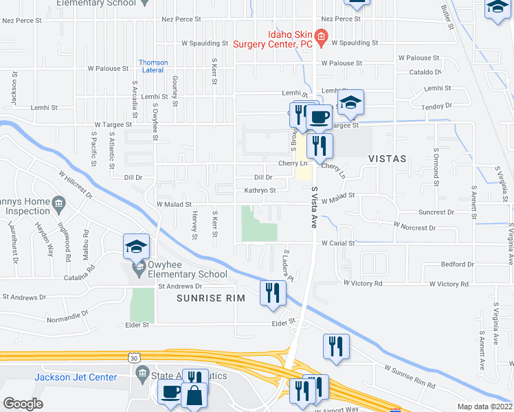 map of restaurants, bars, coffee shops, grocery stores, and more near 2823 Kathryn Street in Boise