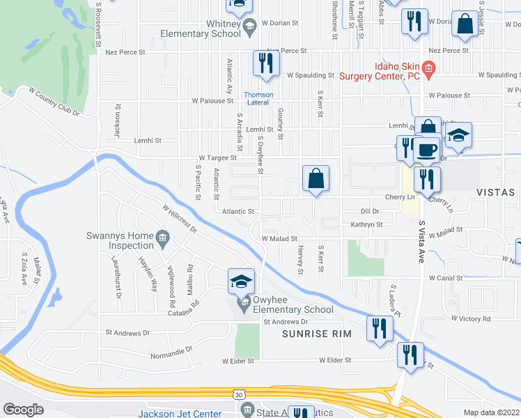 map of restaurants, bars, coffee shops, grocery stores, and more near 2520 S Owyhee St in Boise