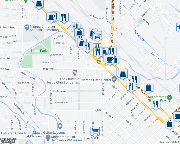 map of restaurants, bars, coffee shops, grocery stores, and more near 123 Davis Ave in Nampa