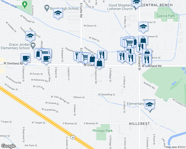 map of restaurants, bars, coffee shops, grocery stores, and more near 5619 West Dorian Lane in Boise