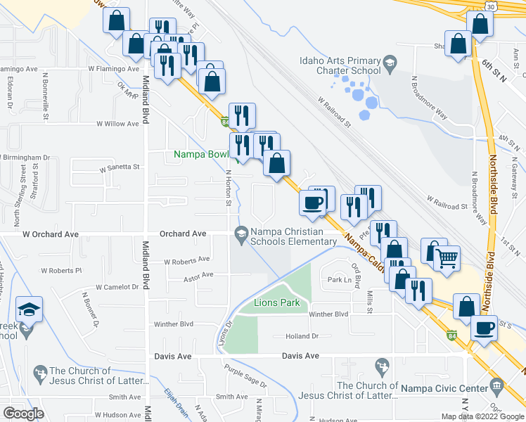 map of restaurants, bars, coffee shops, grocery stores, and more near 450 West Orchard Avenue in Nampa