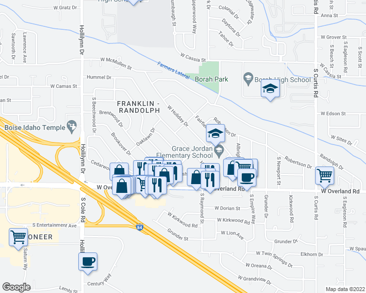 map of restaurants, bars, coffee shops, grocery stores, and more near 6620 Hummel Drive in Boise