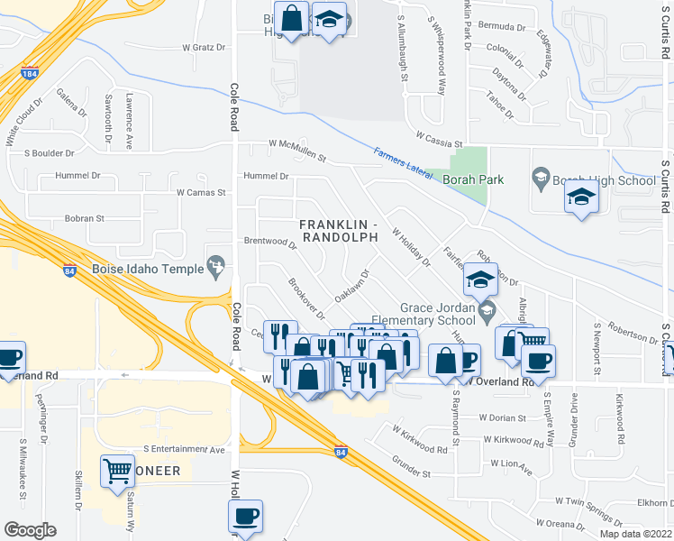 map of restaurants, bars, coffee shops, grocery stores, and more near 7018 Rosewood Drive in Boise