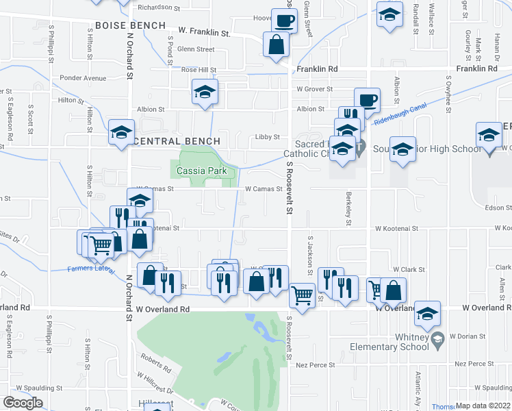 map of restaurants, bars, coffee shops, grocery stores, and more near 1001-1199 South Wilson Street in Boise