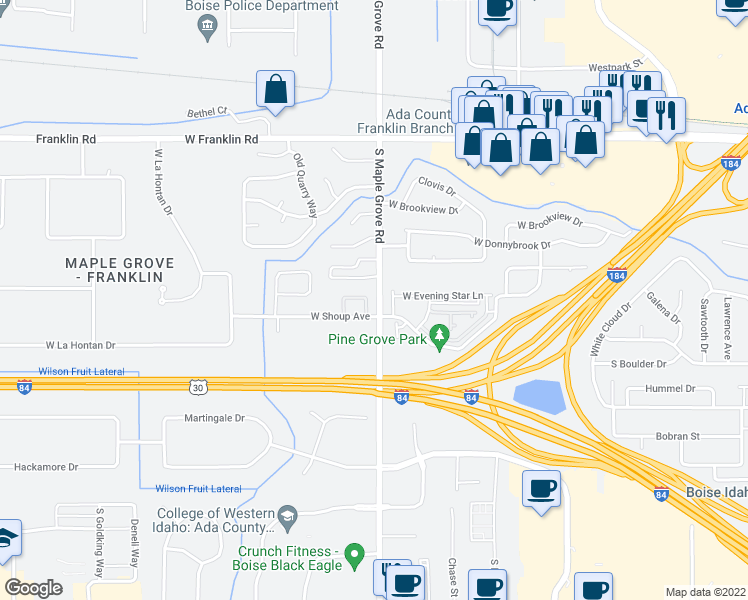 map of restaurants, bars, coffee shops, grocery stores, and more near 23 S Maple Grove Rd in Boise